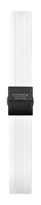 Rubber strap white (with black steel folding clasp)