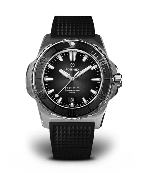 Automatic Chronometer COSC 300M Black Dial Black Strap