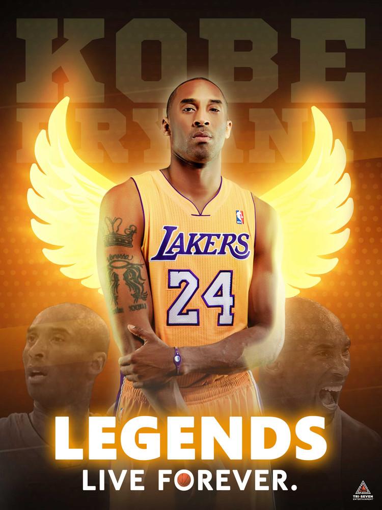 Kobe Bryant Poster Legends Live Forever Wall Art Print (18x24)