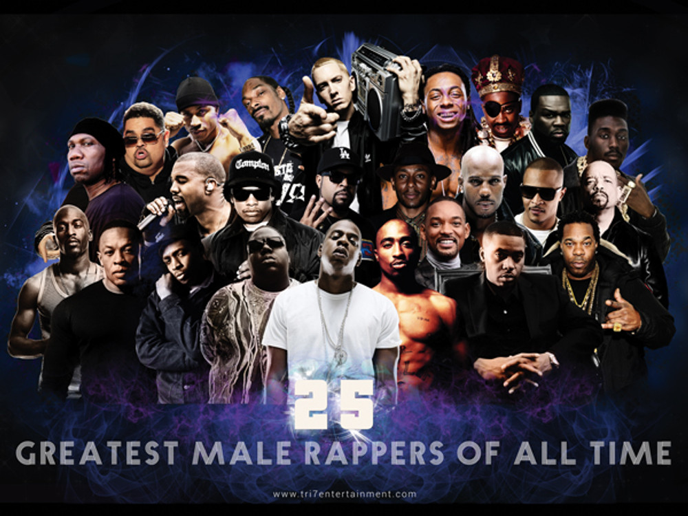 25 Greatest Male Rappers Of All Time Poster 24x18