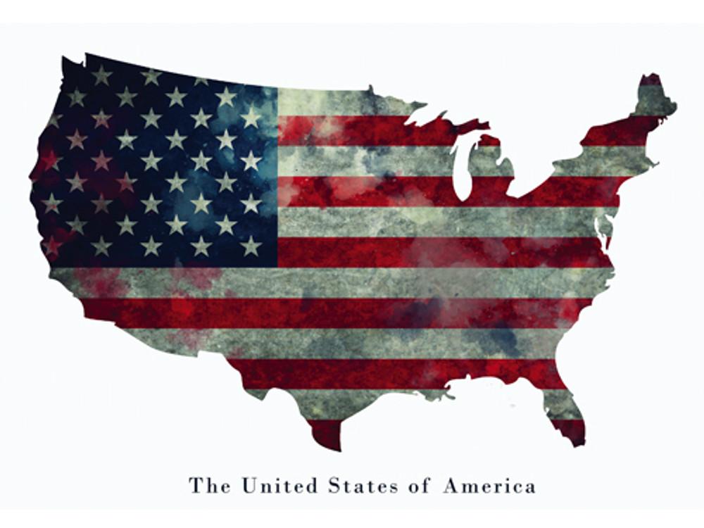 American Flag Poster USA United States of America Wall Art Print (24x18)
