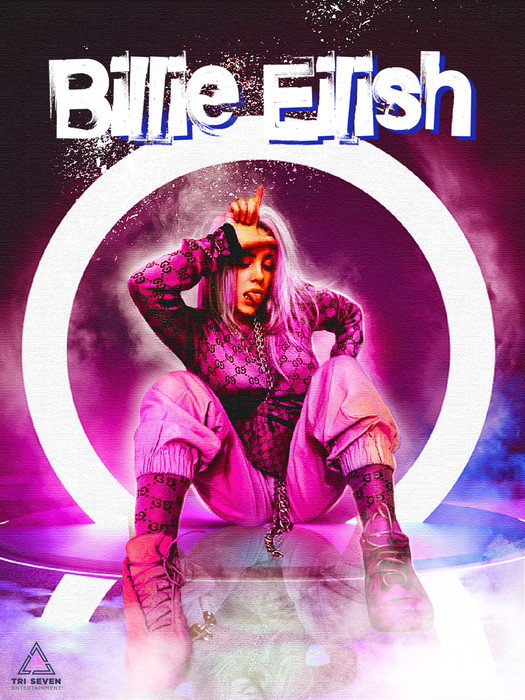 All The Girls Standing In The Line For The Bathroom: Billie Eilish Poster Pink Wall Art Print (18x24