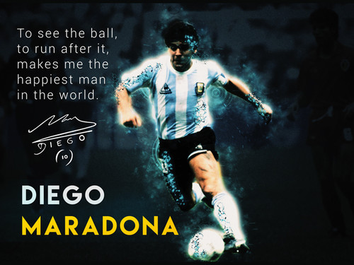 Diego Maradona Poster Football Soccer Quote Art Print (24x18)