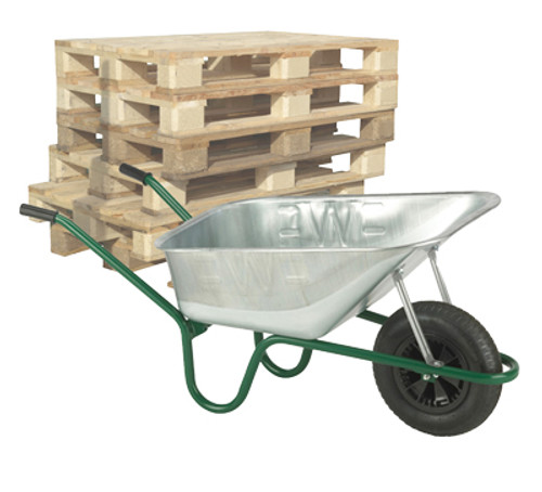 Pallet of Professional Galvanised Solid Wheel Wheelbarrows - 120 Ltr / 150Kg