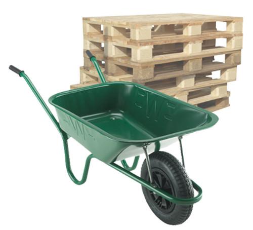Pallet of Builder Green Wheelbarrows - 90 Ltr / 140Kg (14 units)