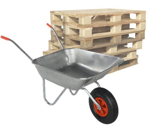 Pallet of Bristol DIY Garden Light Work Metal Wheelbarrows 60 Ltr / 80Kg