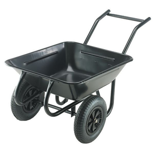Contractor Twin Black Wheelbarrow - 175 Ltr / 220kg
