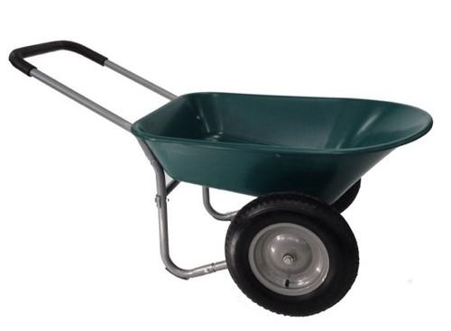 Two Wheel Plastic Green Wheelbarrow - 75 Ltr / 120kg