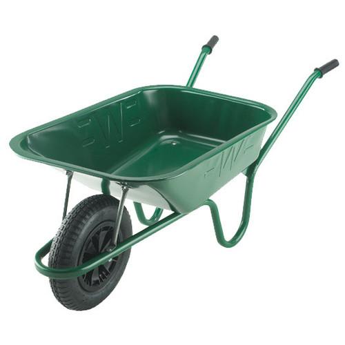 An image of The Builder Green Wheelbarrow - 90 Ltr / 140Kg