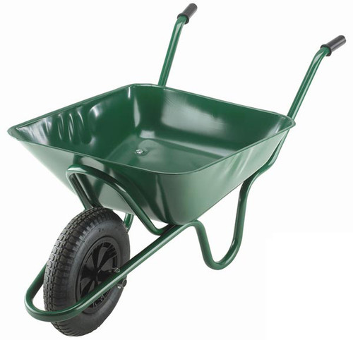 An image of The Integral Green Wheelbarrow - 85 Ltr / 125kg