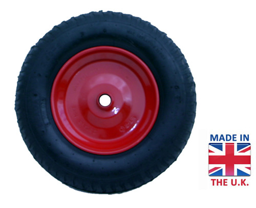 An image of Walsall Pneumatic wheel with red metal hub