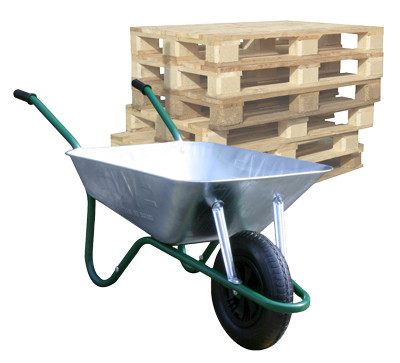 An image of Pallet of Easiload Galvanised Wheelbarrows - 85 Ltr / 150Kg