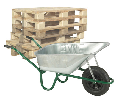 An image of Pallet of Professional Galvanised Solid Wheel Wheelbarrows - 120 Ltr / 150Kg
