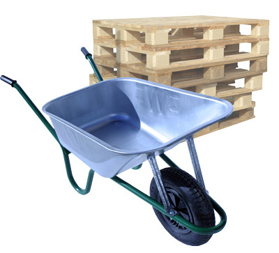 An image of Pallet of Builder Galvanised Wheelbarrows - 90 Ltr / 140Kg (14 units)