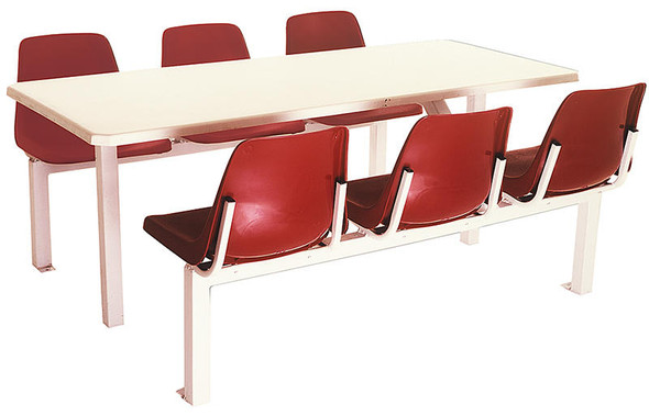 Canteen Table Six Seater Rectangle Poly Shell Set
