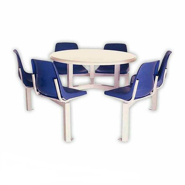 Canteen Table Six Seater Round Poly Shell Set
