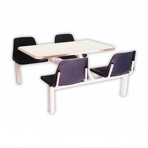 Canteen Table Four Seater Rectangle Poly Shell Set