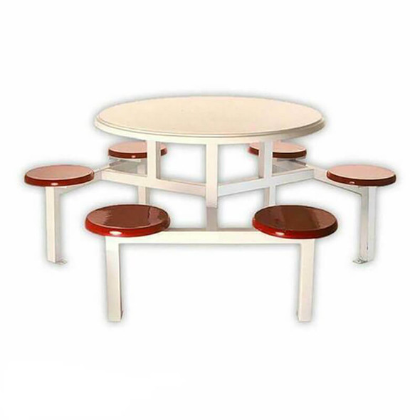 Canteen Table Six Seater Round Stool Set