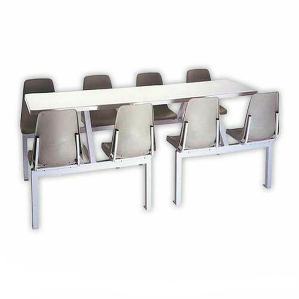 Canteen Table Eight Seater Rectangle Poly Shell Set