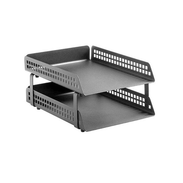 Square Punch Steel Letter Tray 2-Tier
