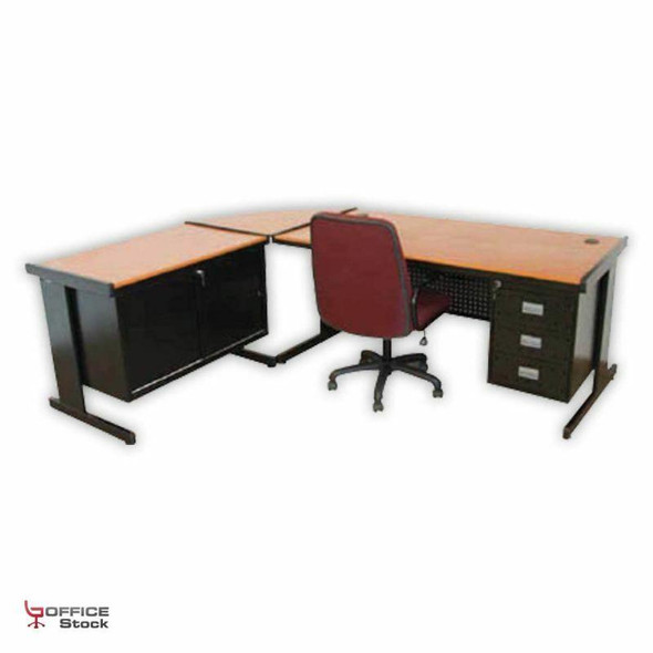 Pacific Suite with 3 Drawer Pedestal and Sliding door credenza