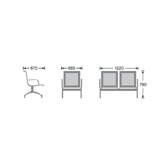 2-Seater Stainless Steel Airport Bench