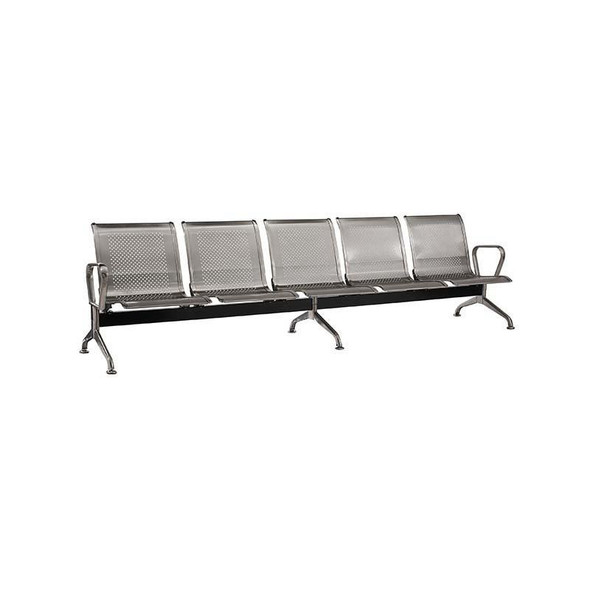 5-Seater Stainless Steel Airport Bench