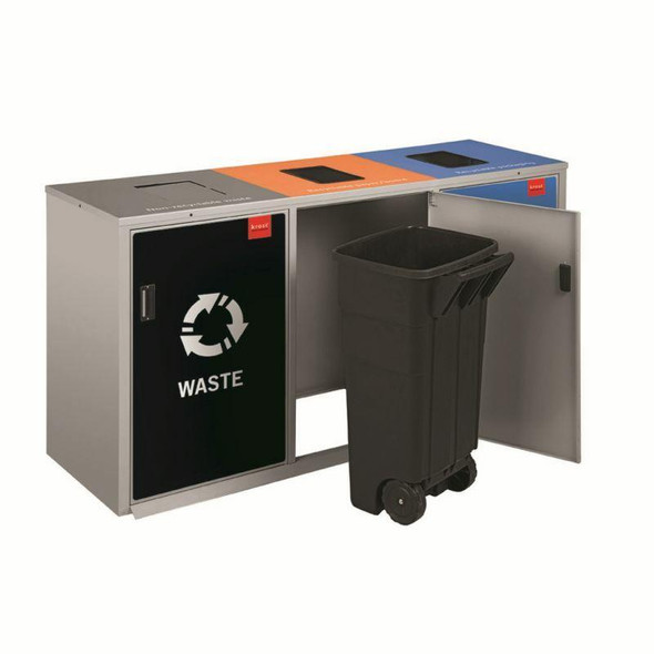 Recycling 3 Division Jumbo Square Recycle Bin