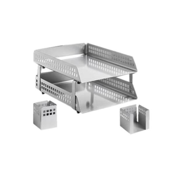Square Punch Steel Desk Set