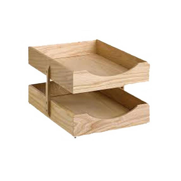 Contract Solid Wood 2-Tier Letter Tray