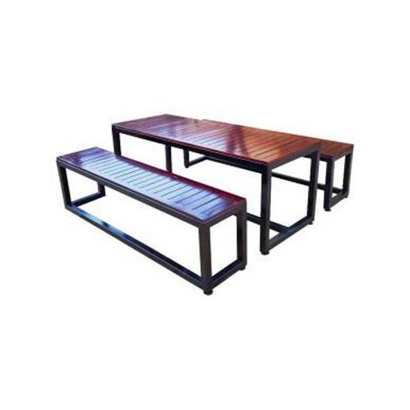 Saligna Wood Table with Steel Frame