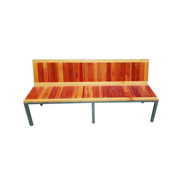Saligna Wood Bench with Steel Frame