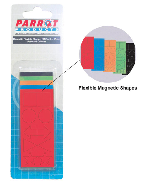 Magnetic Flexible Shapes 15mm - 50 Pack - Assorted