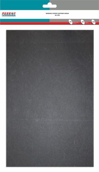 Leather Grain Binding Cover A4 - 150GSM - Pack of 25 - Black