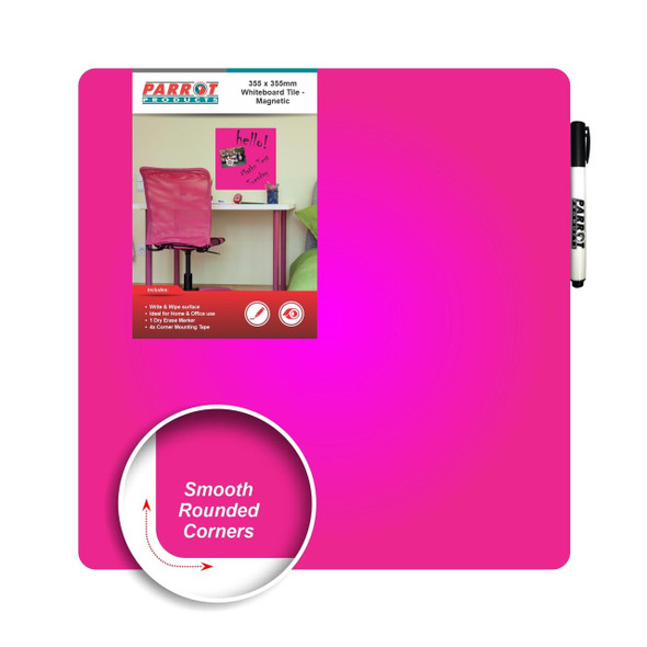 Magnetic Whiteboard Tile 355355mm - Pink