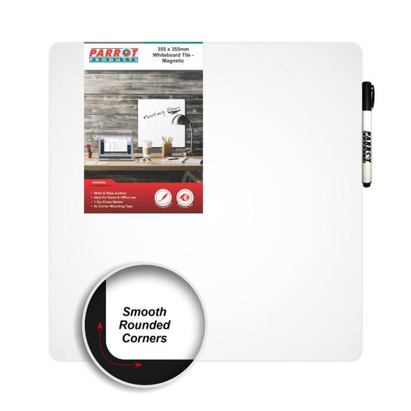 Magnetic Whiteboard Tile 355355mm - White