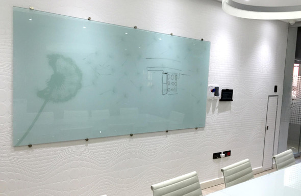 Glass Whiteboard Non-Magnetic Printed 2400x1200mm