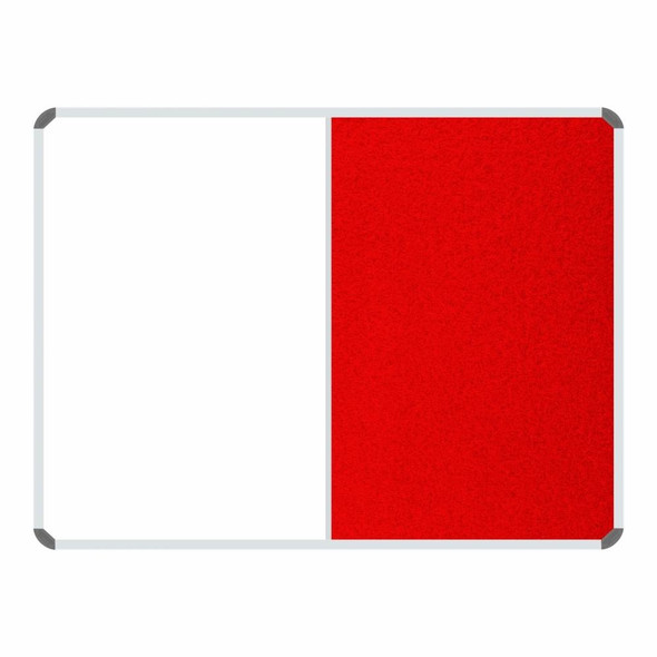 Non-Magnetic Combination Whiteboard 1200900mm - Red Felt