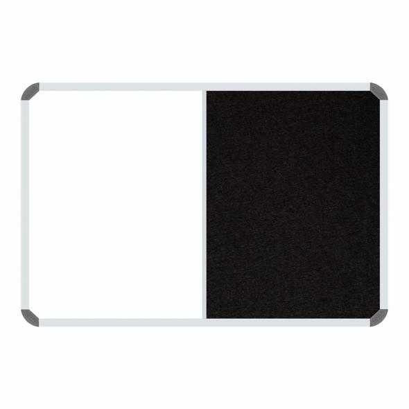 Non-Magnetic Combination Whiteboard 20001200mm - Black Felt