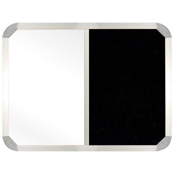 Non-Magnetic Combination Whiteboard 900600mm - Black Felt