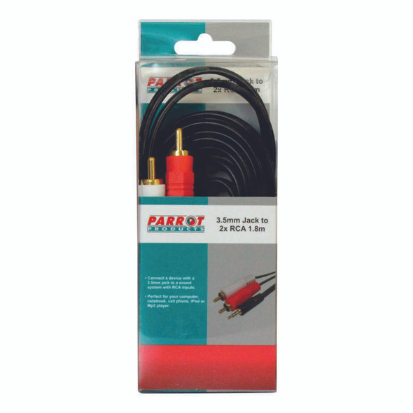 3.5mm Audio Jack to Two Male RCA cable 1.8 Meters