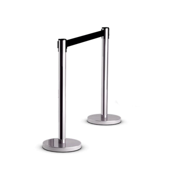 Box of 2 - Retractable Chrome Queue Barrier with Black Belt 910x320mm