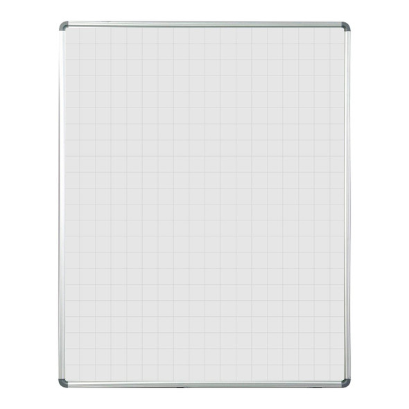 Educational Board Magnetic Whiteboard 1220920 - Grey Squares - Side Panels - Option A