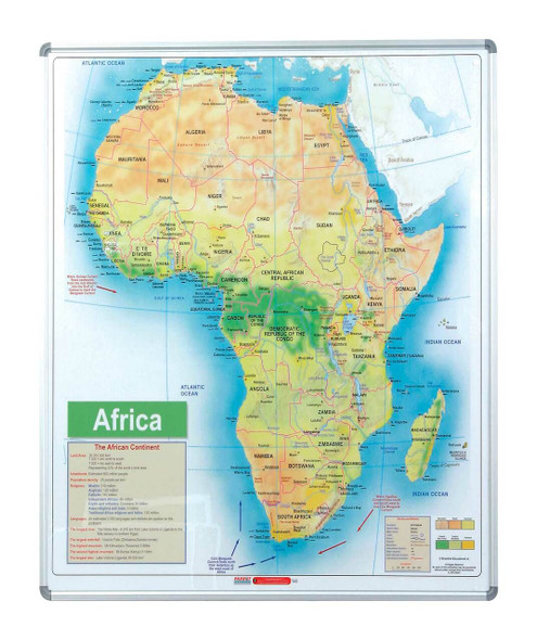 Map Board - Africa 1230930mm - Magnetic White