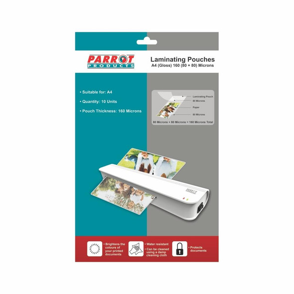 Laminating Pouches A4 - Gloss - 220x310mm - 160 8080 Microns - Pack 10