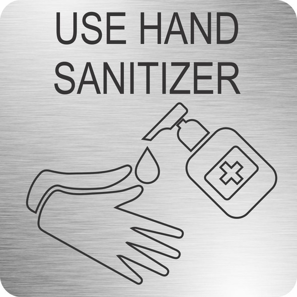 Hand Sanitizer Safety Sign 210 x 210mm - Brushed ACP