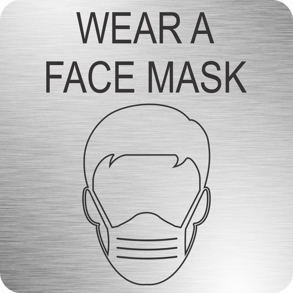 Face Mask Safety Sign 210 x 210mm - Brushed ACP