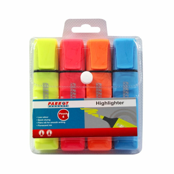 Highlighter Markers Pouch 4 Yellow - Pink - Blue - Orange