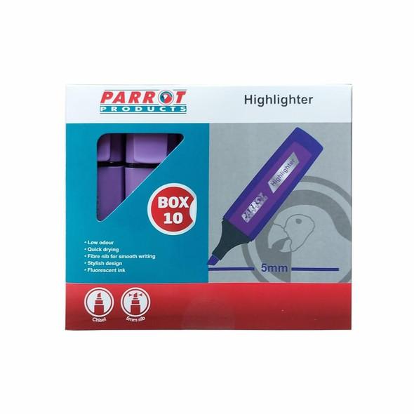 Highlighter Marker Box 10 Markers - Purple