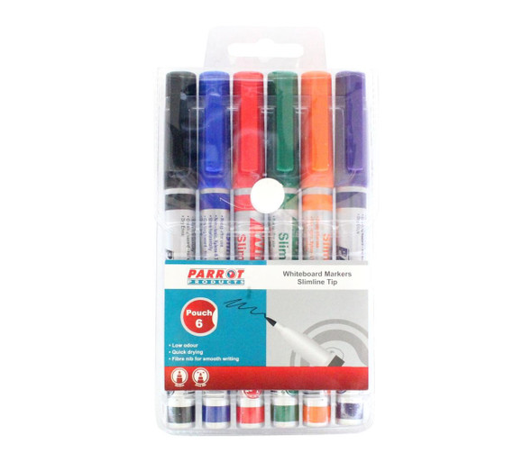 Whiteboard Markers 6 Markers - Slimline Tip - Carded